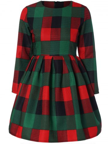 Sale Long Sleeve Plaid Slimming Dress GREEN XL