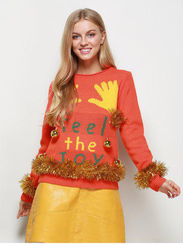 Embellished Christmas Knit Sweater with Bells - Orange Red - M