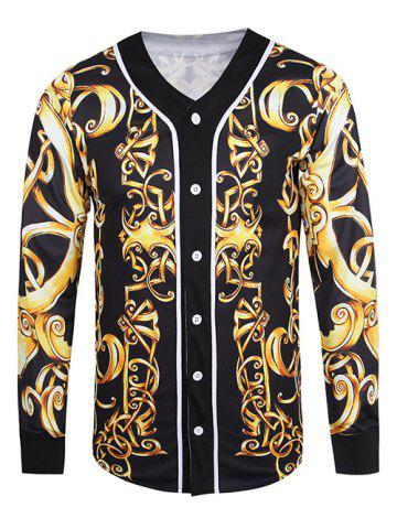 Buy V Neck Button Front Baroque Jacket BLACK 3XL