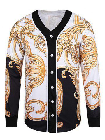 New Button Front V Neck Ornate 3D Print Jacket WHITE 3XL