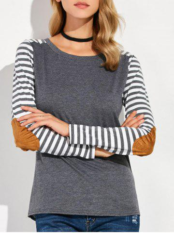 Fancy Round Collar Stripe Print Patchwork T-Shirt