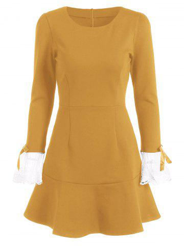 Vintage Mini Flounce Long Sleeve Skater Dress