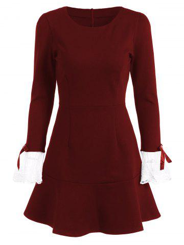 Fashion Vintage Openwork Flounced Long Sleeve Skater Dress - L BURGUNDY Mobile
