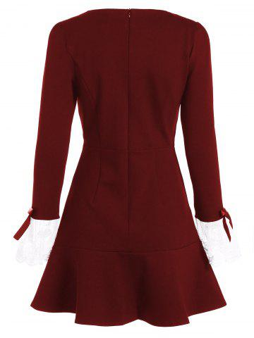 Cheap Vintage Openwork Flounced Long Sleeve Skater Dress - L BURGUNDY Mobile