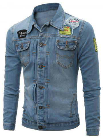Destroyed Patch Design Pleated Pocket Denim Jacket