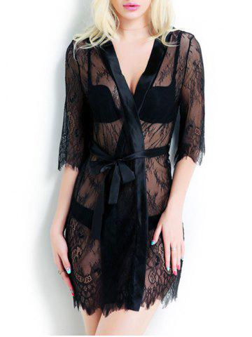 Outfit Sheer Tied Up Lace Wrap Sleepwear