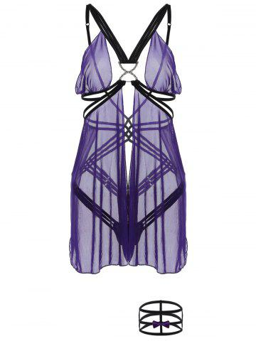 Affordable Criss-Cross Cut Out Sheer Babydoll PURPLE ONE SIZE