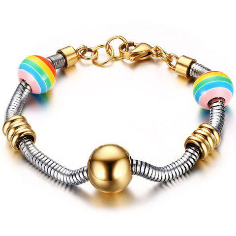 Chic Stainless Steel Polished Beads Spring Chain Bracelet GOLDEN