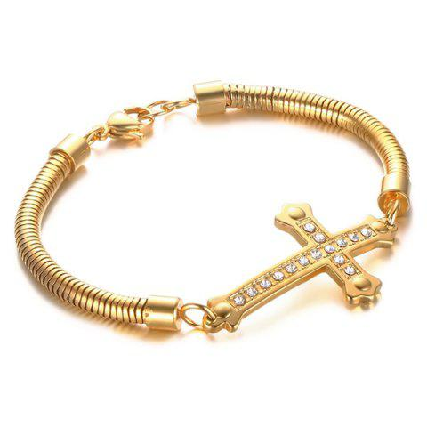 New Stainless Steel Gold Plated Cross Rhinestone Bracelet GOLDEN
