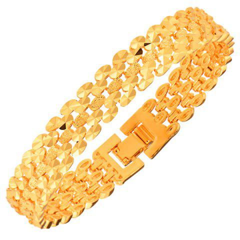 Online Gold Plated Disk Hollow Out Bracelet GOLDEN