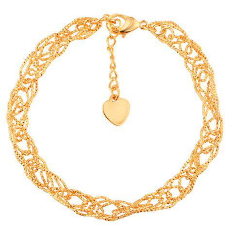Gold Plated Hollow Out Filigree Bracelet - GOLDEN