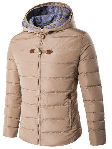 Outfits Horn Button Hooded Zip Up Elbow Patch Down Jacket