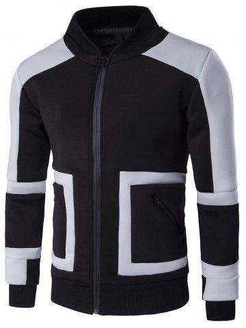 Shops Stand Collar Color Block Insert Design Zip Up Jacket BLACK 3XL