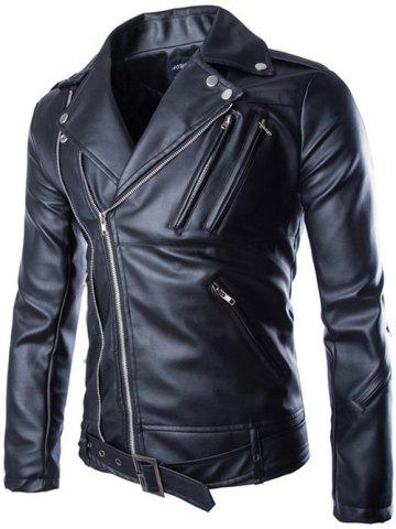 Unique Turndown Collar Zippers Design PU Leather Jacket BLACK 2XL