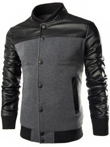 Chic PU Leather Splicing Design Stand Collar Single Breasted Jacket DEEP GRAY 3XL