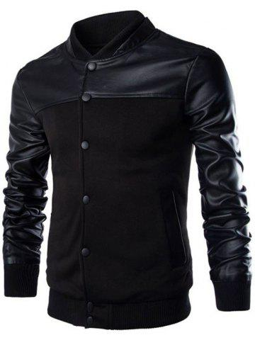 PU Leather Splicing Design Stand Collar Single Breasted Jacket - Black - M