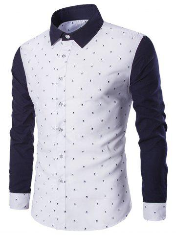 Buy Turndown Collar Skull Print Color Block Spliced Shirt WHITE M