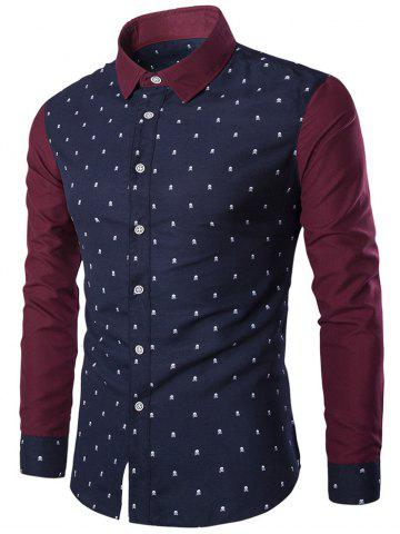 Cheap Turndown Collar Skull Print Color Block Spliced Shirt CADETBLUE XL