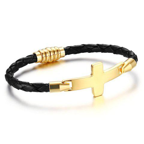 Artificial Leather Braid Crucifix Bracelet - Black