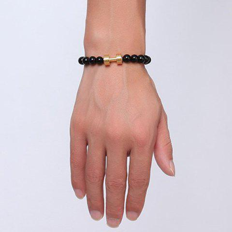 Trendy Barbell Beaded Bracelet - GOLDEN  Mobile