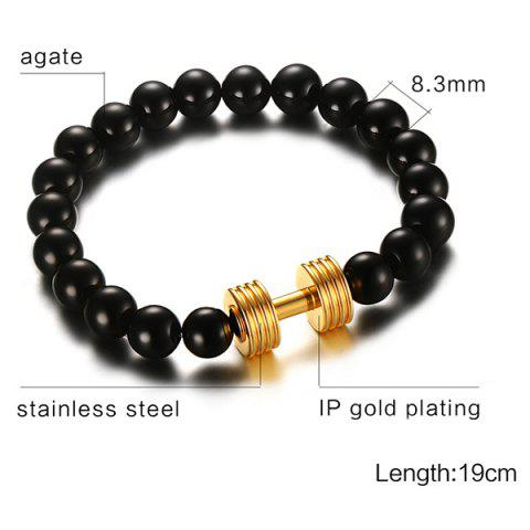 Cheap Barbell Beaded Bracelet - GOLDEN  Mobile
