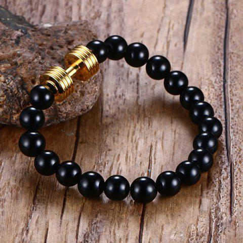 Unique Barbell Beaded Bracelet - GOLDEN  Mobile