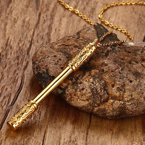 New Cudgel Shape Embossed Pendant Necklace - GOLDEN  Mobile