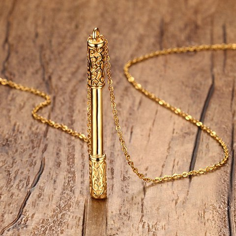Outfits Cudgel Shape Embossed Pendant Necklace - GOLDEN  Mobile