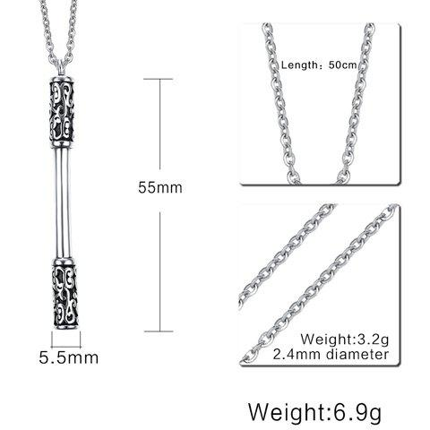 Best Cudgel Shape Embossed Pendant Necklace - SILVER  Mobile