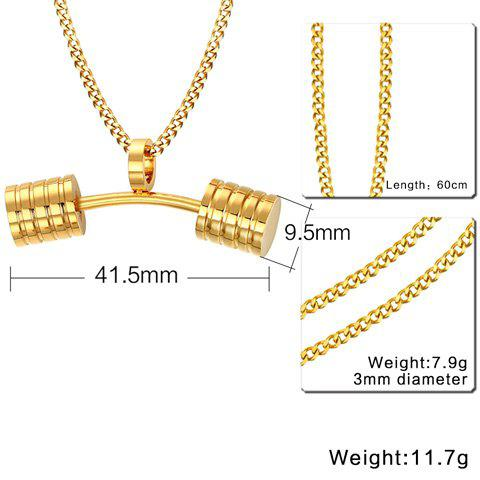 Best Stainless Steel Barbell Pendant Necklace - GOLDEN  Mobile