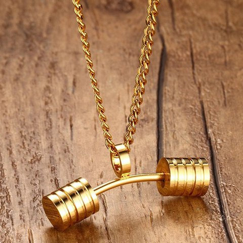 New Stainless Steel Barbell Pendant Necklace - GOLDEN  Mobile