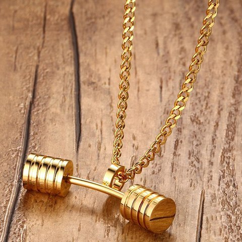 Store Stainless Steel Barbell Pendant Necklace - GOLDEN  Mobile