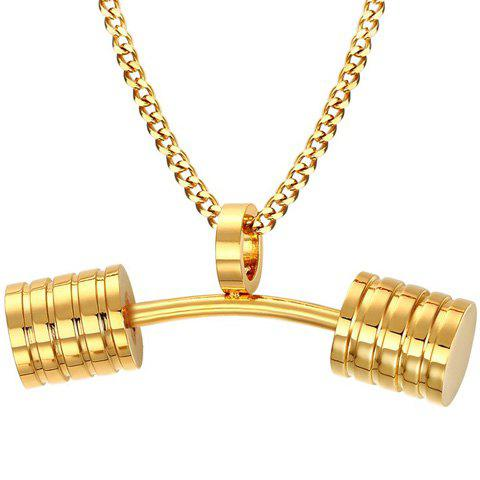 Outfits Stainless Steel Barbell Pendant Necklace - GOLDEN  Mobile