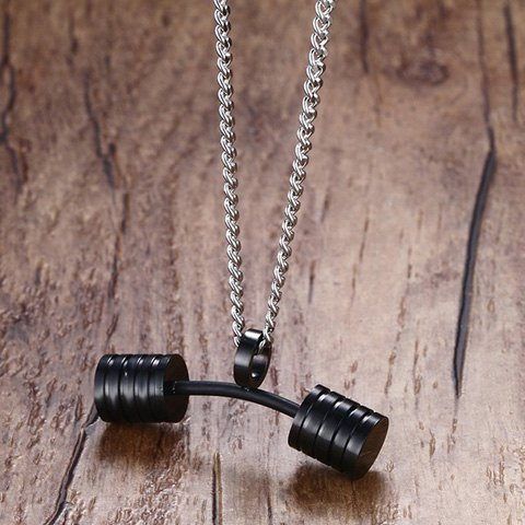 Store Stainless Steel Barbell Pendant Necklace - BLACK  Mobile