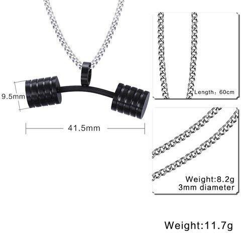 Latest Stainless Steel Barbell Pendant Necklace - BLACK  Mobile