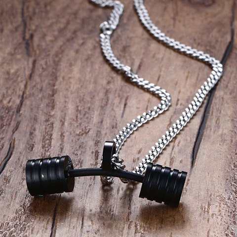 Best Stainless Steel Barbell Pendant Necklace - BLACK  Mobile