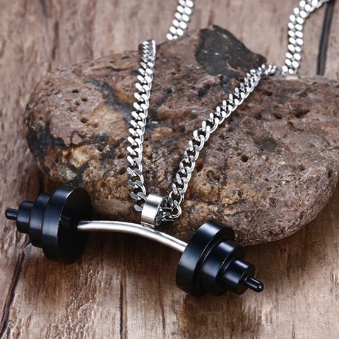 Fancy Dumbbell Shape Stainless Steel Pendant Necklace - BLACK  Mobile