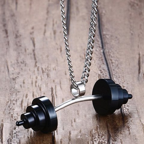 Latest Dumbbell Shape Stainless Steel Pendant Necklace - BLACK  Mobile