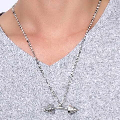 Shop Dumbbell Shape Stainless Steel Pendant Necklace - SILVER  Mobile