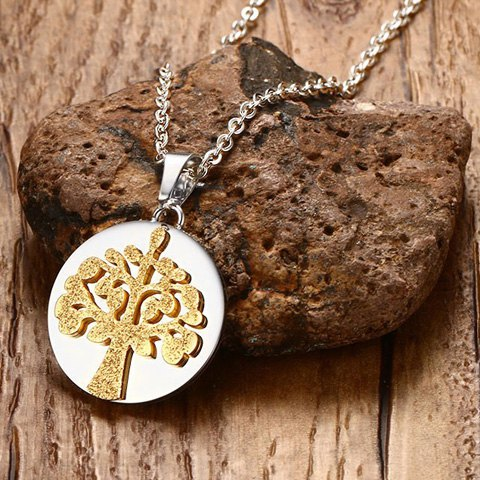 Outfits Polished Matte Finished Tree Pendant Necklace - GOLDEN  Mobile
