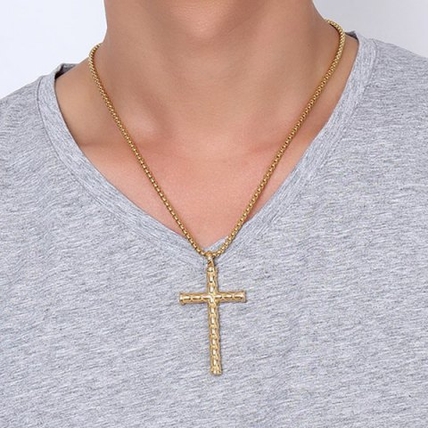 Latest Scale Embossed Cross Pendant Necklace
