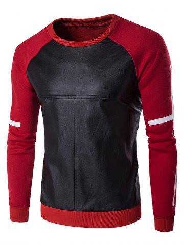 Trendy PU Leather Splicing Design Crew Neck Raglan Sleeve Sweatshirt RED 3XL