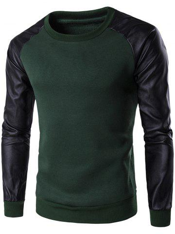 Latest PU Leather Spliced Flocking Crew Neck Raglan Sleeve Sweatshirt