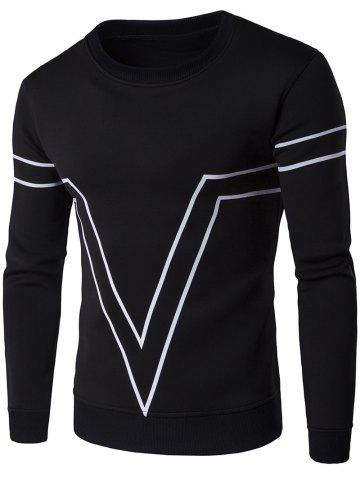 Fancy V Geometric Print Crew Neck Long Sleeve Sweatshirt