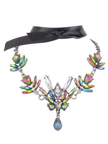 Outfits Artificial Gem Necklace and Ribbon Choker