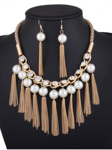 Discount Fake Pearl Chain Tassel Necklace and Earrings