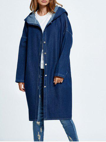 Fancy Hooded Button Up Denim Coat with Pockets DEEP BLUE ONE SIZE