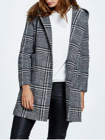 Outfit Hooded Pompon Embellished Plaid Wrap Coat GRAY L