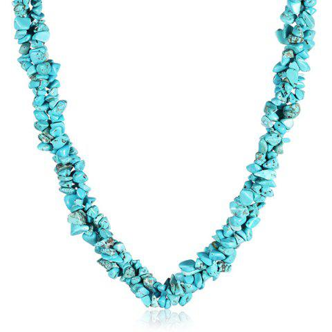 Online Natural Stone Turquoise Necklace LAKE GREEN