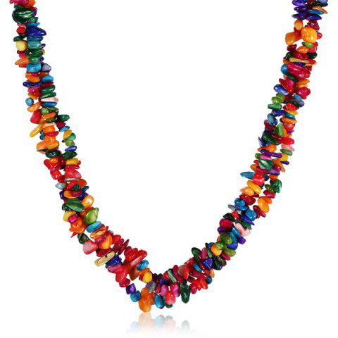 Shop Natural Stone Bib Necklace COLORMIX